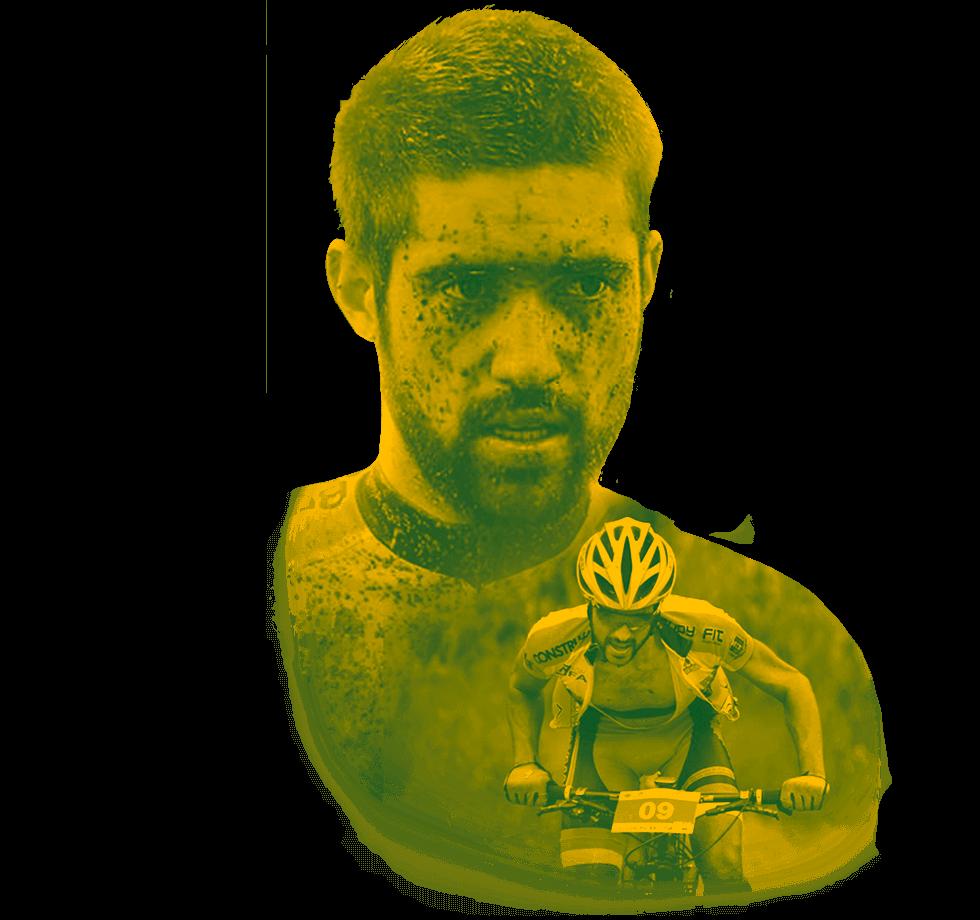 Foto principal do Ilson na capa do site, ele com efeito em amarelo com o mesmo ao lado andando de bike